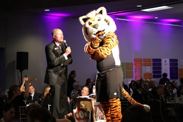 From left, Chuck Gehring and Cincinnati Bengals mascot Who Dey. Big Wheels 2018. Feb. 3, 2018, Photo by Anthony Clemente, LifeCare Alliance.