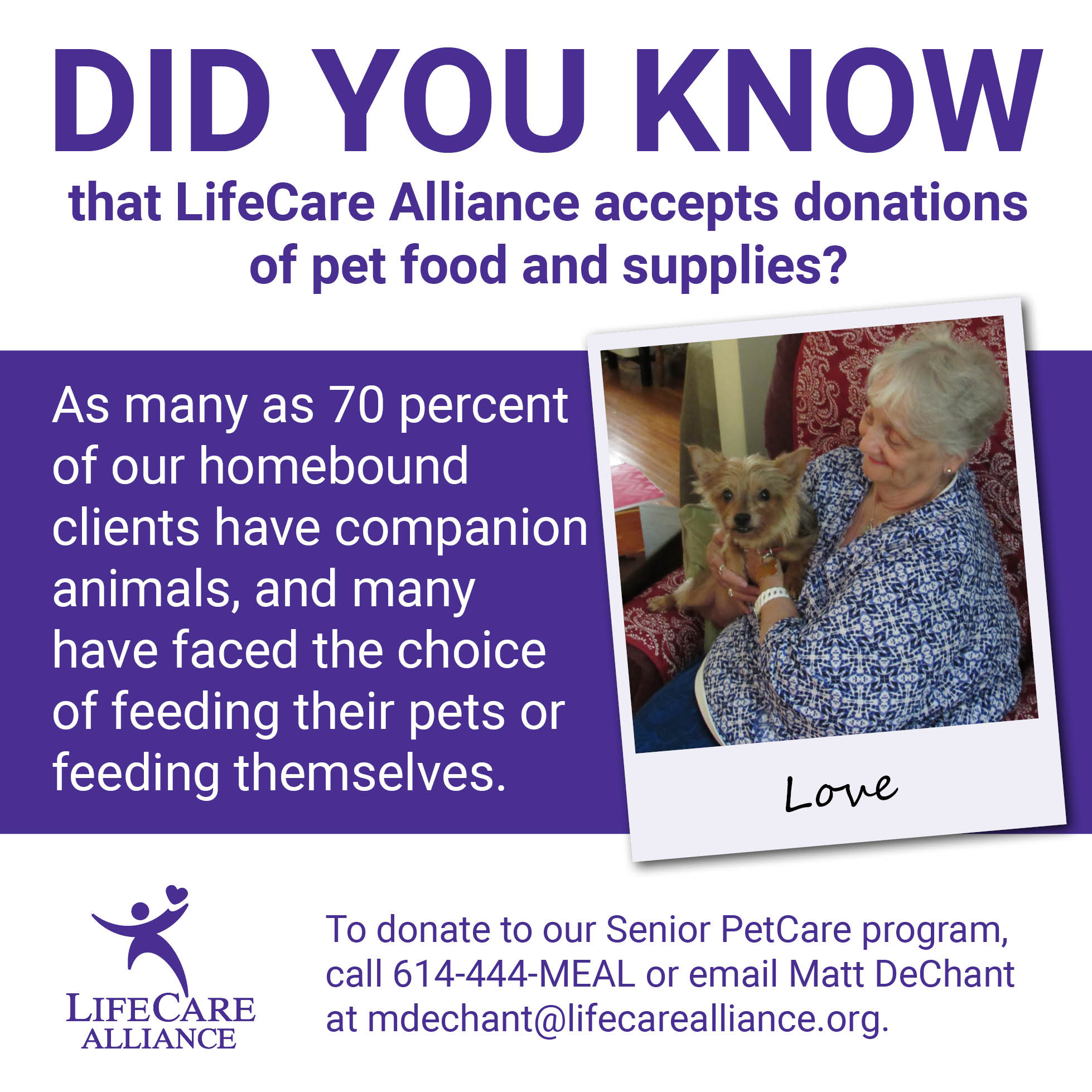 As many as 70 percent of our homebound clients have companion animals.