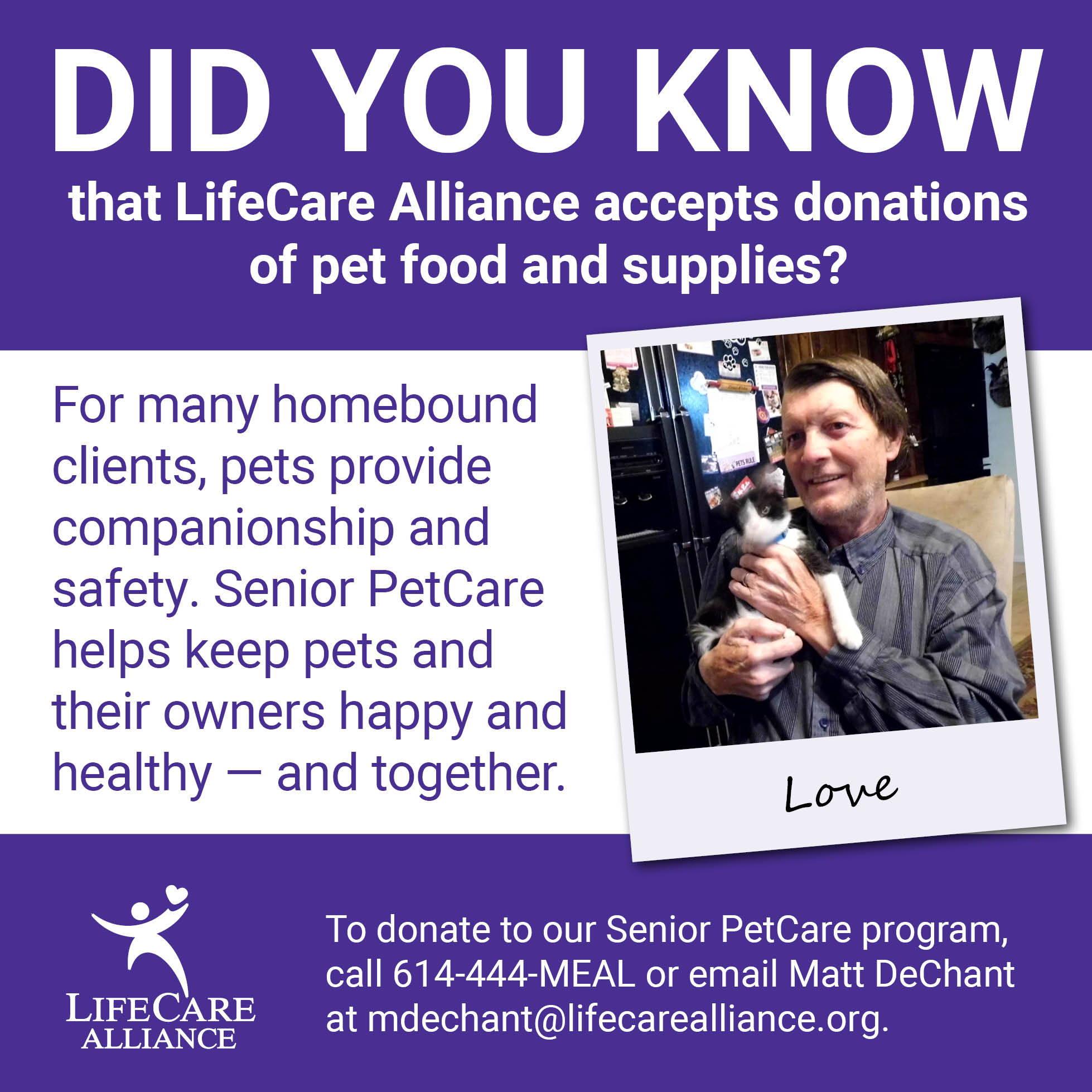 Senior PetCare helps keep animals and owners together.