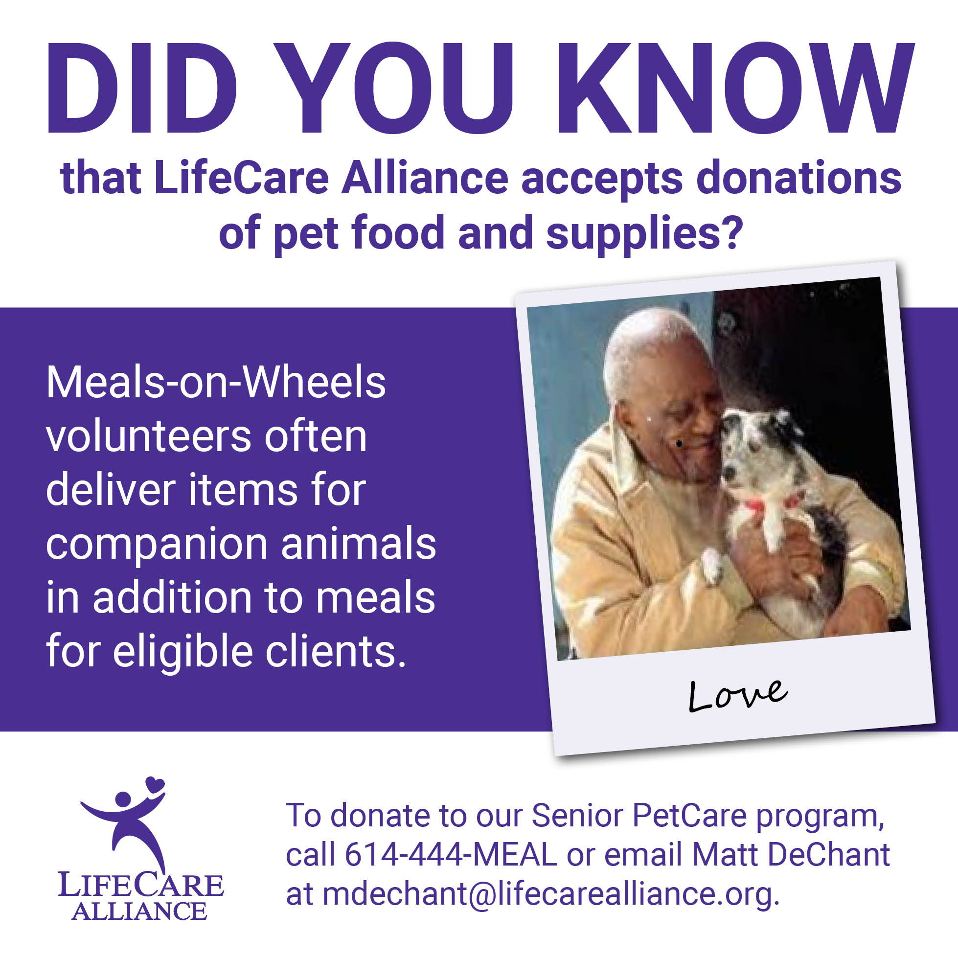 Volunteers deliver pet food to eligible clients.