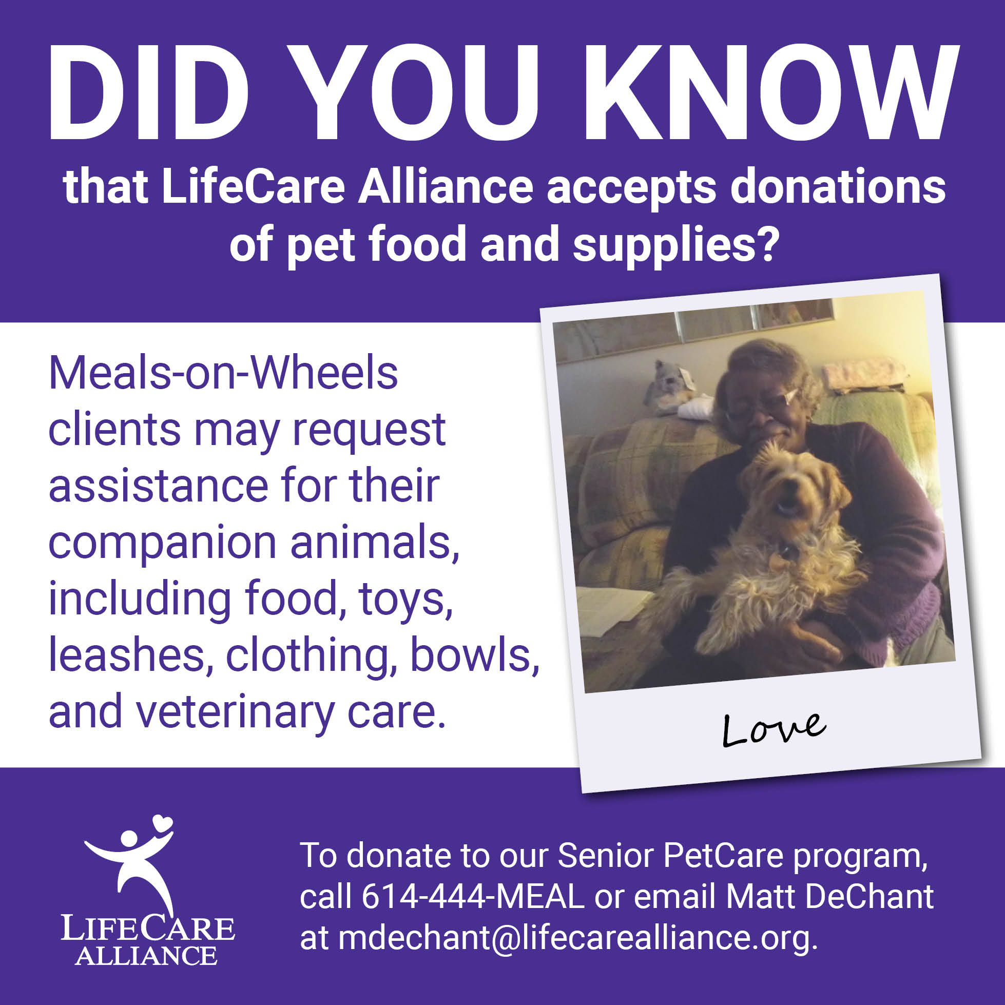 Meals-on-Wheels clients may request assistance for their companion animals.