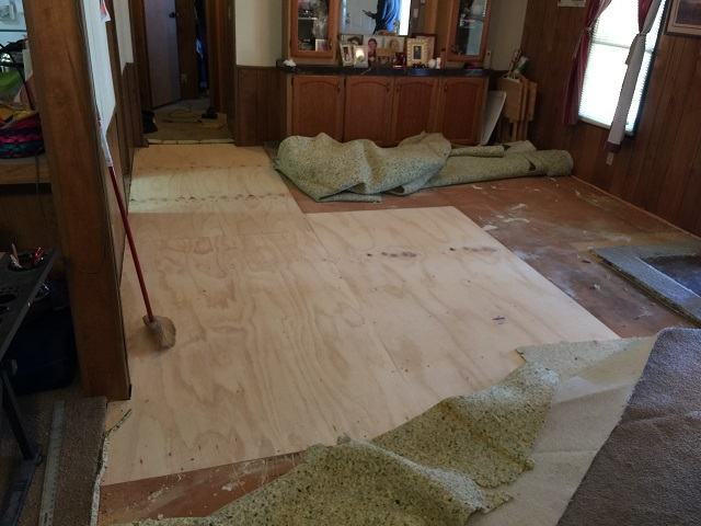 Floor repairs in progress
