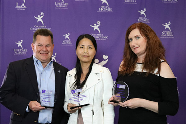 Representatives of Nationwide Insurance pose with their awards at the LifeCare Alliance Volunteer Recognition event on Monday, April 30, 2018. Photo by Andrew Zuk, LifeCare Alliance.