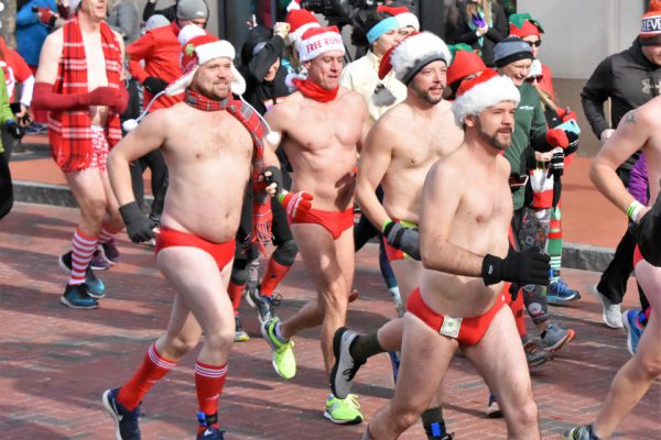 Santa Speedo Dash for Diabetes runners in Speedos