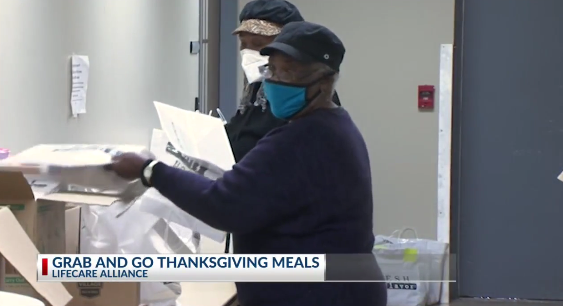 Grab and Go Thanksgiving Meals being prepared for distribution