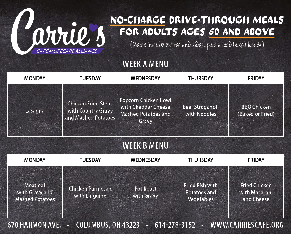 Carrie's Daily Menu, alternating weeks