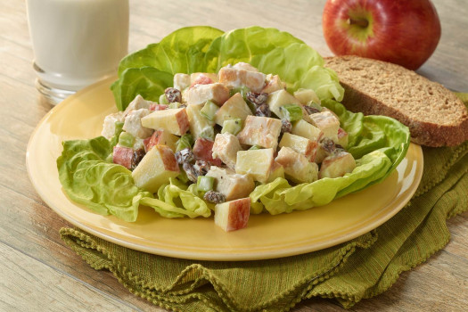 Apple and Chicken Salad served over lettuce